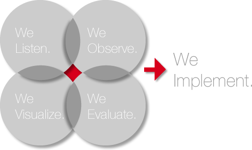 We Learn. We observe. We visualize. We evaluate -> We implement